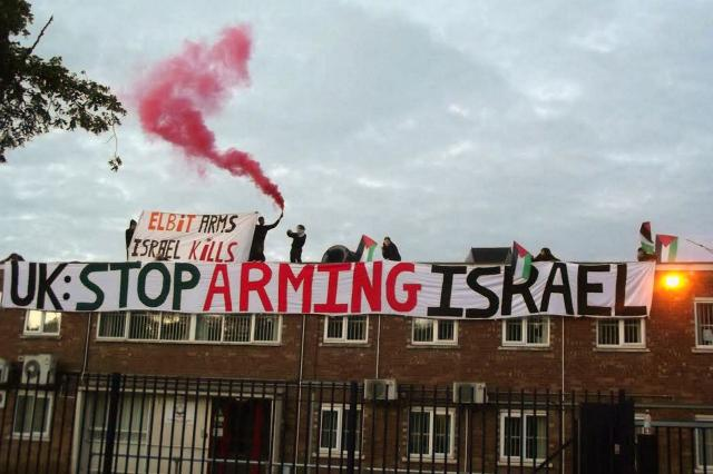 Activists in the UK occupy the roof of the Elbit Systems factory