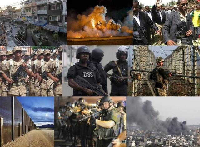 (From left to right: Israeli weapons in Ethiopia, Ferguson, Missouri, you know, the Black Lives Matter protests that were violently suppressed by the police? The police were trained by Israel. Israeli tanks in Brazil, where Israel trained the police to treat the favelas of Rio based on the IDF's experience in Gaza; an Israeli fence in Kashmir between India and Pakistan; Israeli weapons Nigeria, in Peru, Israeli drones over the skies of Gaza, Ferguson again, and an Israeli fence in the Mexico-US border.)